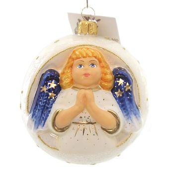 Vaillancourt JINGLE BALLS ANGEL IN WHITE Glass Christmas Ornament Wings Or16500