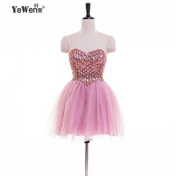 In stock Sexy Cocktail Dresses 2016 Evening Party Short Mini Prom Gowns Crystal Beaded Sweetheart Ball Gown Homecoming D
