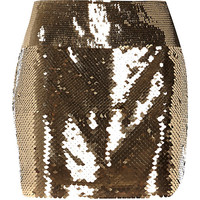 River Island Womens Gold tone sequin mini tube skirt