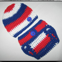 Red White and Blue, American Pride Baby Diaper Cover and Hat Set. Many Sizes Available