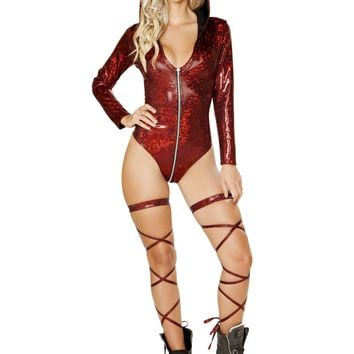 Roma Rave 3575 - 1pc Long Sleeve Hooded Romper with Zip up Closure