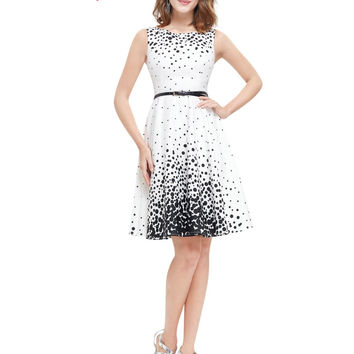 Ever Pretty 2016 New Summer Short Homecoming Dresses HE05446WB White Sweetheart Polka Dot  Sexy Party Homecoming Dress