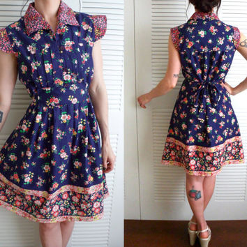 Navy Blue Calico Floral Sundress Size 12 Day Dress 60's 70's