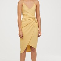 Draped Wrap-front Dress - Light yellow - Ladies | H&M US