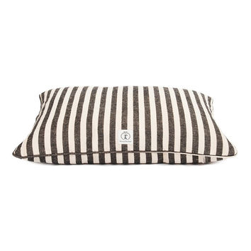 Personalized Vintage Stripe Envelope Dog Bed | Black