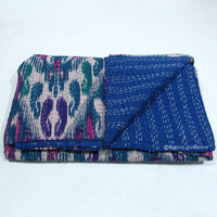 Queen Size Blue Ikat Kantha Hand Stitched Quilt Throw Blanket