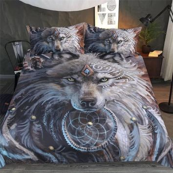 Wolf Warrior by SunimaArt Bedding Sets American Duvet Cover Indian Wolf Feather Dreamcatcher Bed Set 3D Printed 3pcs Bedclothes