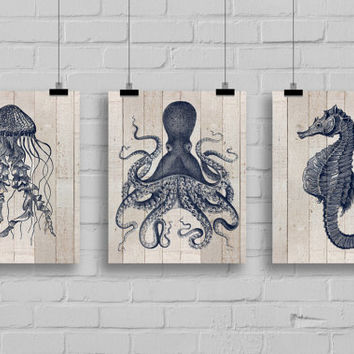 Sea Life Animals Art Print Set - Jellyfish Art - Sea Horse Art - Octopus Art - Nautical Decor - Wall Art