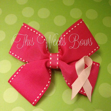 Hot Pink Breast Cancer Awareness Hair Bow