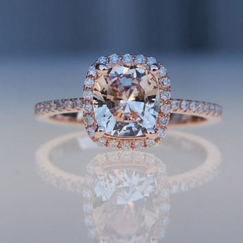 1.98ct cushion ice peach champagne sapphire 14k rose gold diamond ring engagement ring