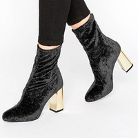 Missguided Velvet Blocked Heeled Sock Boots at asos.com