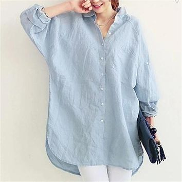VogorSean 2017 New Women Summer Loose Blouse Shirts Blusas Down Shirt Long Turning Sleeve Top Casual Linen Big Blouse Go To Work