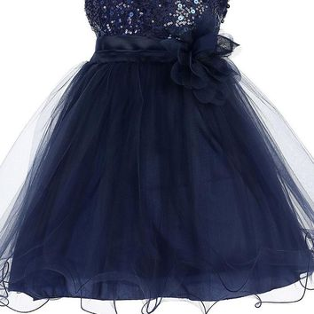 Baby Girls Navy Blue Sequin Party Dress w. Lettuce Tulle Hem 3-24m