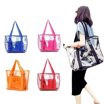 Beach bags Jelly Clear Transparent Tote Shoulder