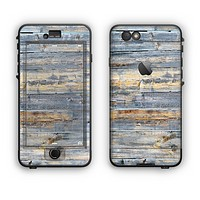 The Vintage Wooden Planks with Yellow Paint Apple iPhone 6 Plus LifeProof Nuud Case Skin Set