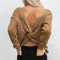 Best Thing Coffee Twisted Back Sweater