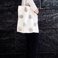 Geometric Tote, Minimalist  Shopper, Hand Printed Cotton Tote Bag, Back to School
