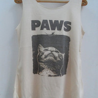 Cat paws Shirt -- Cat Shirt Cat T-Shirt Animal Shirt White Shirt Women Shirt Tank Top Women T-Shirt Tunic Top Vest Sleeveless Size S,M,L