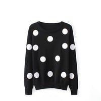 Magic Pieces Woman's Full Dots Pattern Round Neck Sweater 080817