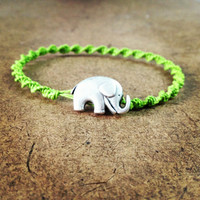 Lime Green Swirled Hemp Bracelet - Elephant