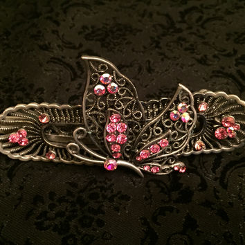 Butterfly Hot Pink Hair Clip Pin