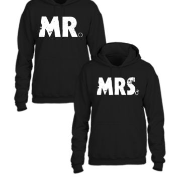 mr and mrs couple design - Couple hoodie