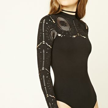Mesh-Paneled Bodysuit