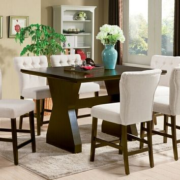 Acme 71520-27 7 pc Effie walnut finish wood counter height dining table set with beige upholstery