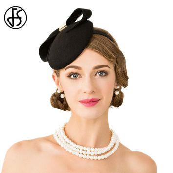 FS Fascinator Ladies Black Wedding Dress Hats For Women Elegant Bowknot With Metal Buckle Pillbox Felt Trilby Derby Hats