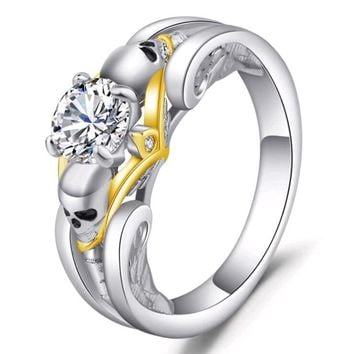 2018 New Design Skull Fashion jewelry Crystal CZ Rings For women men European American Gothic Punk style Wedding Party Ring