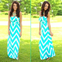 Chevron Chic Maxi Dress in Mint