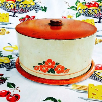 1940s Decoware Tin Cake Saver Cake Carrier Hall Poppy Pattern