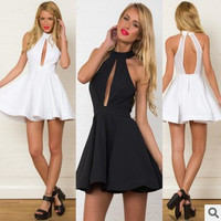 Fashion Halter Open Chest Sleeveless Narrow Shoulder Gauze Back Straps Frills Ruffle Mini Dress