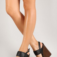Basket Weave Wedge: Black