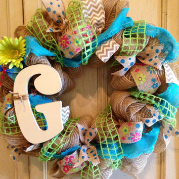 Spring Summer Monogram DecoMesh Wreath, Spring Wreath, Summer Wreath, Monogram Wreath, Burlap Summer Wreath, Door Wreath, Easter wreath