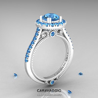Caravaggio 14K Ceramic White Gold 1.0 Ct Blue Topaz Engagement Ring, Wedding Ring R621-14KCWGBT
