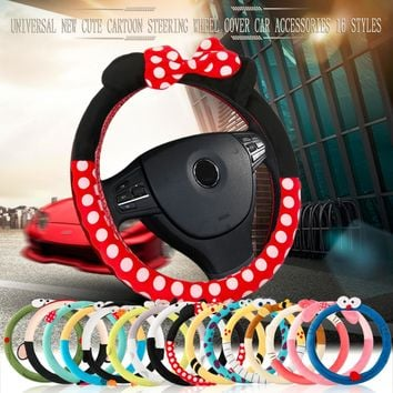 Cute cartoon car steering wheel cover plush bow Mickey panda minion women man wheel covers car styling decorations 16 design