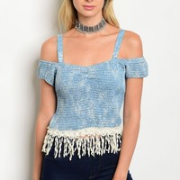 S9-18-2-T1102 BLUE CREAM DENIM OFF SHOULDER TOP 2-2-2