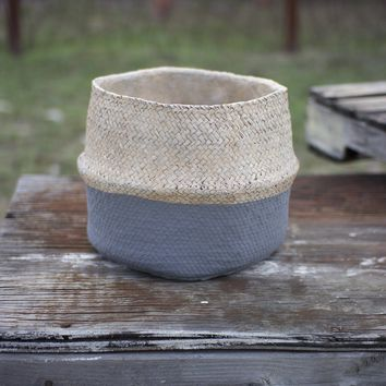 Woven Cement Planter ~ Natural and Grey