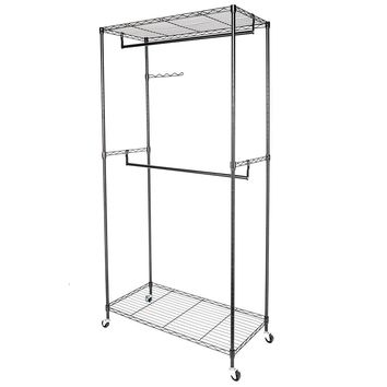 900*450*H1800 Powder Coating Garment Rack Clothes Hanger with Double Rods & Shelves Black