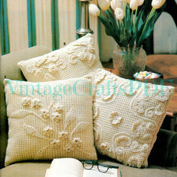 1970s Crochet Vintage Pattern | Flower Pillow Trio | two stitches crochet+afghan applied flowers leaves home gift wedding | Direct from USA