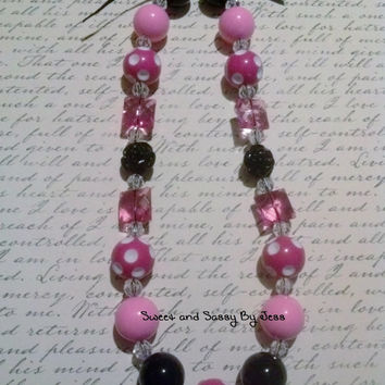 Pink and Black Chunky necklace, bubble gum necklace, toddler chunky necklace, baby chunky necklace, ribbon chunky necklace