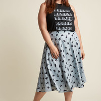 A-Line Circle Skirt with Pockets in Cats