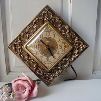 Vintage Mid Century Ornate Electric Wall Clock, United Clock Corp No. 30  Brooklyn New York, Gold Square Clock Base