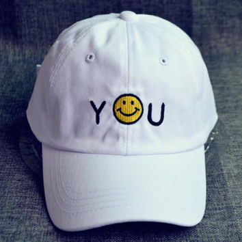 White You Smiling Baseball Cap Hat