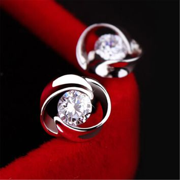 Fashion 925 Silver Crystal Tiny Studs Earrings +Gift Box