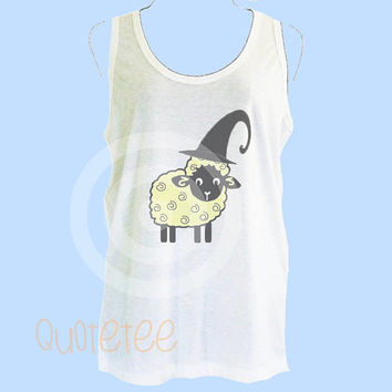 Animal tank top Sheep witch tank top - Summer tank - gift ideas S M L XL Cute tank top