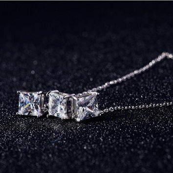 Korea 925 Silver Cubic Zirconia Necklaces 925 Sterling Silver Necklaces&Pendants Jewelry Collar Colar Free Shipping D00066