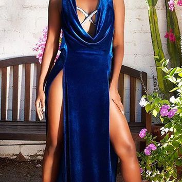 Give Me Everything Velvet Sleeveless Plunge V Neck Rhinestone Strap Double Slit Maxi Dress