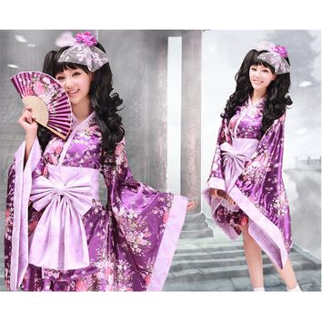 Japanese Kimono Cosplay Sweet Lolita Anime Maid Dress Cosplay Costume Dress